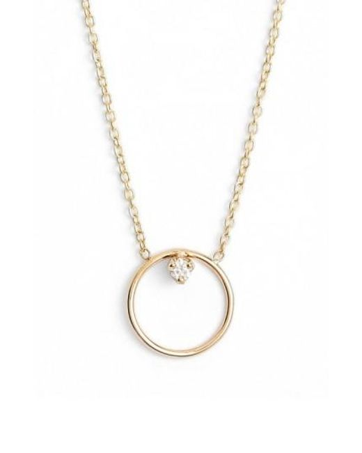 Zoe Chicco | Metallic Diamond Circle Necklace | Lyst