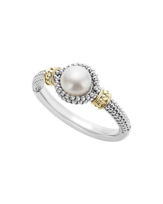 Lagos | Metallic Luna Halo Pearl Ring | Lyst