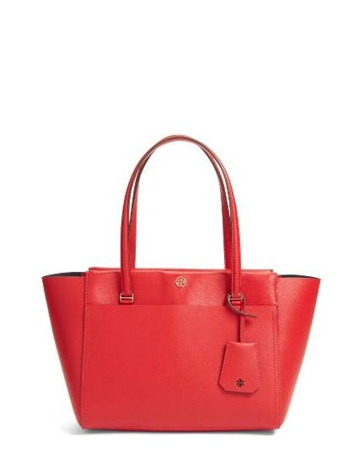 Tory Burch   Red Small Parker Leather Tote   Lyst