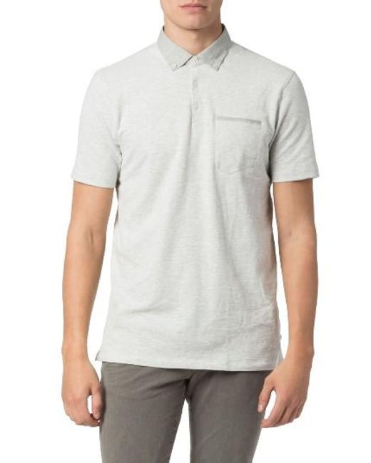 Good Man Brand | Gray Peach Slub Jersey Polo for Men | Lyst