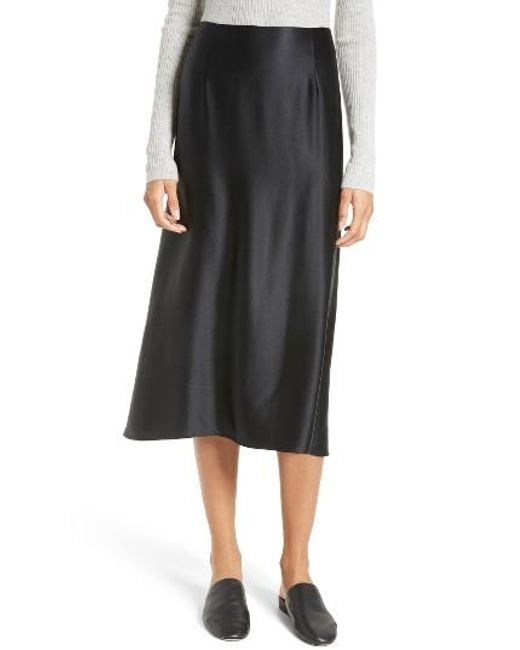 Vince Silk Midi Skirt in Black | Lyst