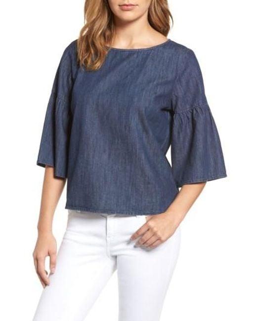 Caslon | Blue Caslon Ruffle Sleeve Chambray Top | Lyst