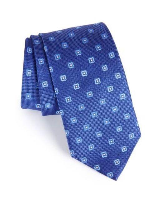 David Donahue | Blue Geometric Silk Tie for Men | Lyst