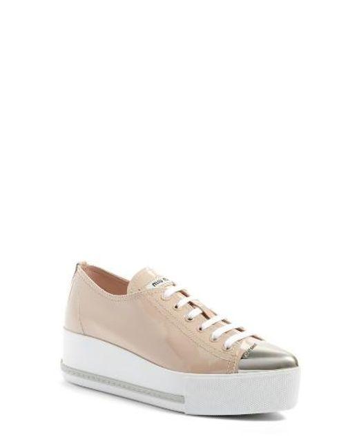 Miu Miu | Natural Platform Pointy Cap Toe Sneaker | Lyst