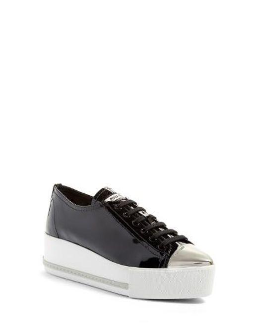 Miu Miu | Black Platform Pointy Cap Toe Sneaker | Lyst