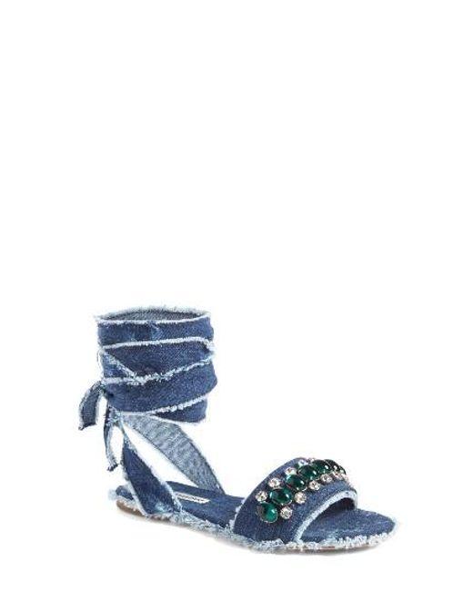 Miu Miu   Blue Jeweled Denim Lace-up Sandal   Lyst