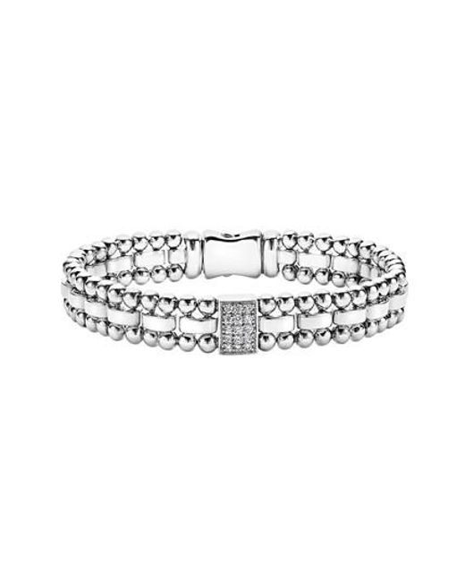 Lagos | Metallic Caviar Spark Diamond Rectangle Link Bracelet | Lyst