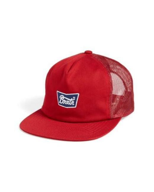 Brixton | Red Stith Mesh Snapback Baseball Cap for Men | Lyst