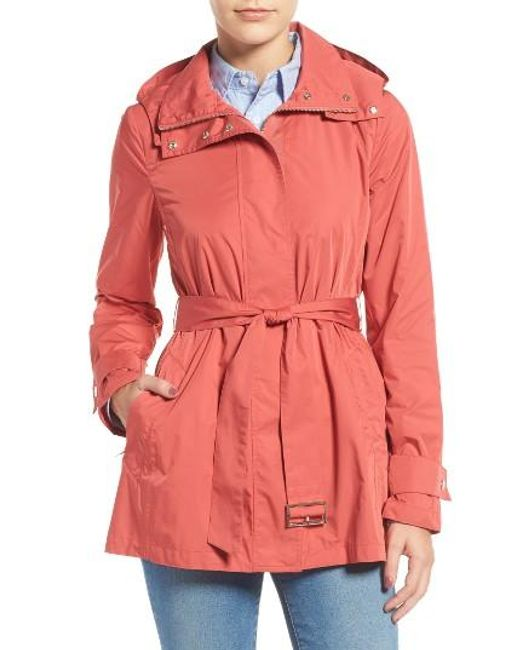 Cole Haan   Packable Belted Rain Coat, Red   Lyst