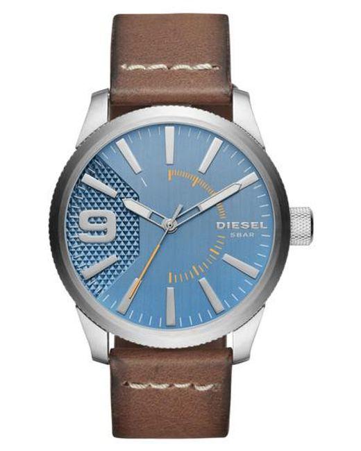 DIESEL | Blue Diesel Rasp Leather Strap Watch for Men | Lyst