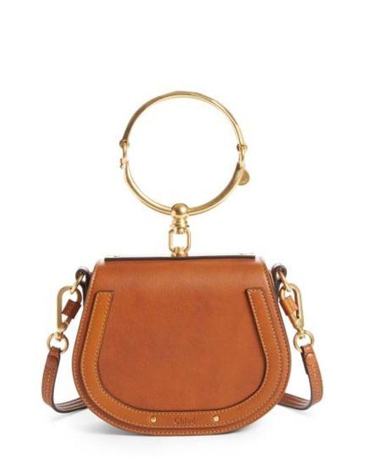 Chlo 233 Nile Bracelet Leather Cross Body Bag In Natural
