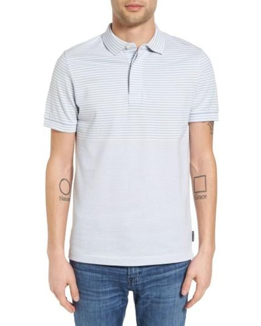 French Connection   Blue Menon Block Stripe Polo for Men   Lyst