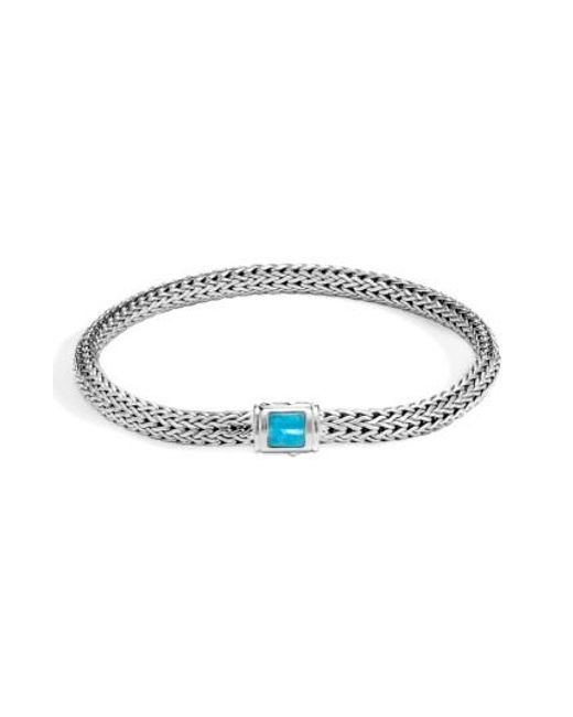 John Hardy | Metallic Classic Extra Small Silver & Turquoise Chain Bracelet | Lyst