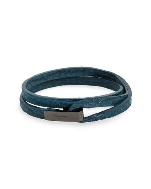 Ferragamo   Blue Double Wrap Leather Bracelet   Lyst
