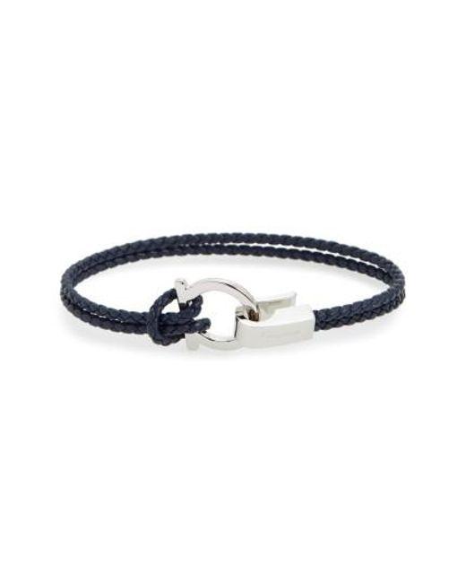 Ferragamo   Blue Double Braided Gancini Leather Bracelet   Lyst