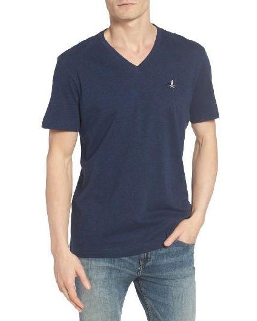 Psycho Bunny | Blue V-neck T-shirt for Men | Lyst