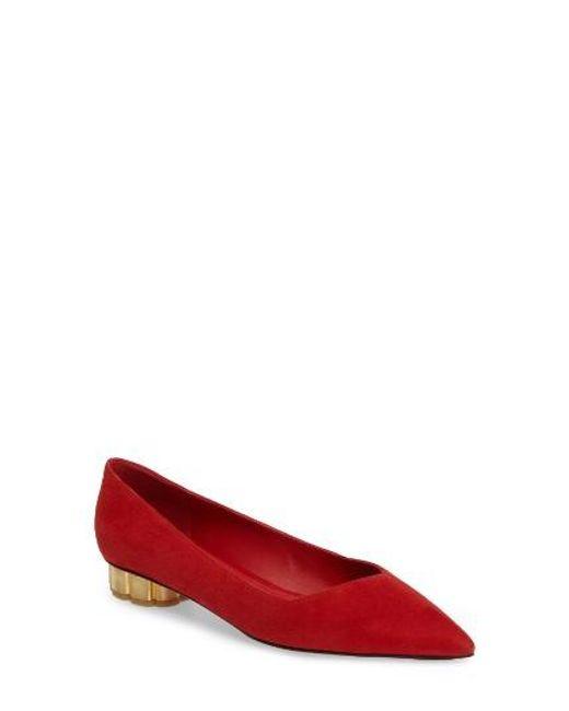 Ferragamo | Red Pointy Toe Pump | Lyst