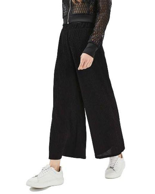 TOPSHOP | Black Wide Leg Trousers | Lyst