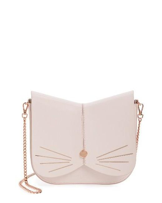 Ted Baker | Pink Cat Leather Crossbody Bag | Lyst