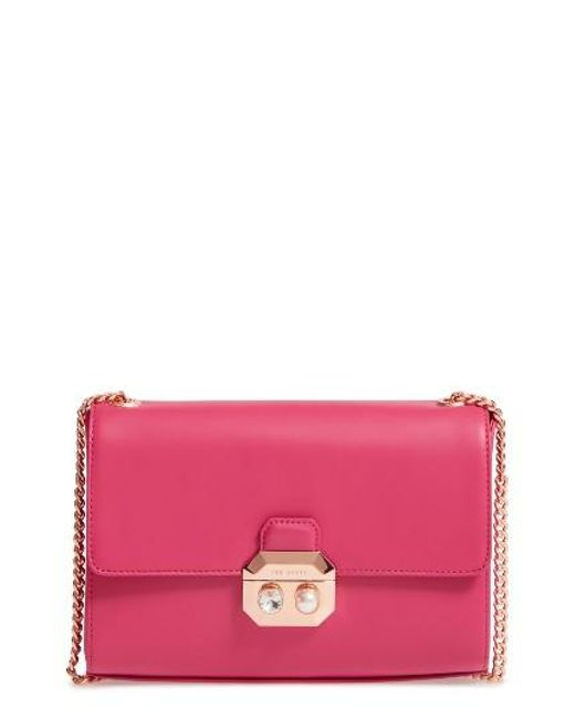 Ted Baker | Pink Leather Crossbody Bag | Lyst