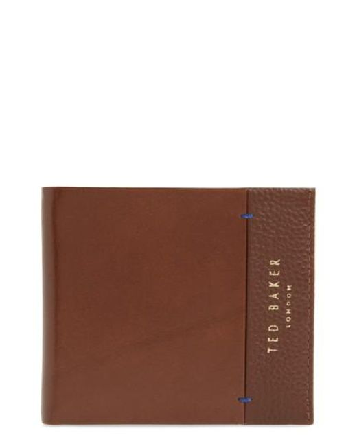 Ted Baker   Brown Leather Bifold Wallet for Men   Lyst