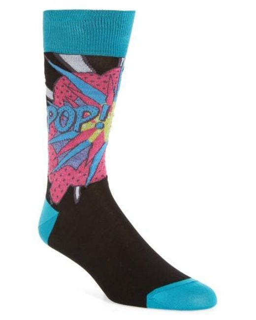 Bugatchi | Black Pop Crew Socks for Men | Lyst