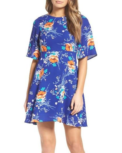 Charles Henry | Blue Fit & Flare Dress | Lyst