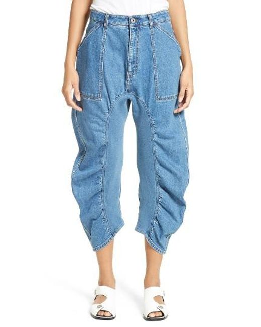 Stella McCartney | Blue Xenia Ruched Crop Jeans | Lyst