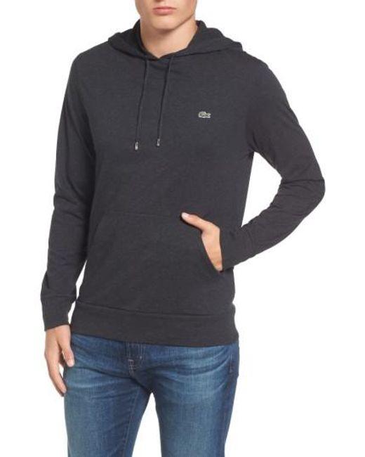 lacoste pullover hoodie in grey for men lyst. Black Bedroom Furniture Sets. Home Design Ideas