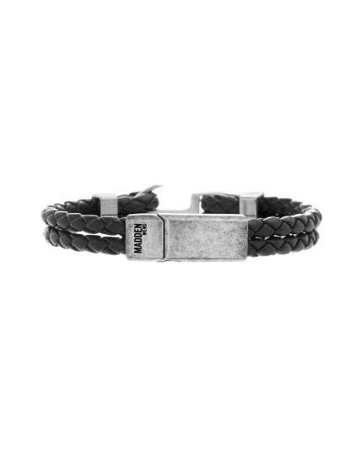 Steve Madden   Black Braided Leather Bracelet for Men   Lyst