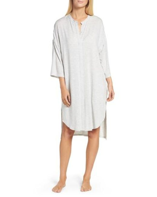 DKNY | Gray Knit Sleep Shirt | Lyst