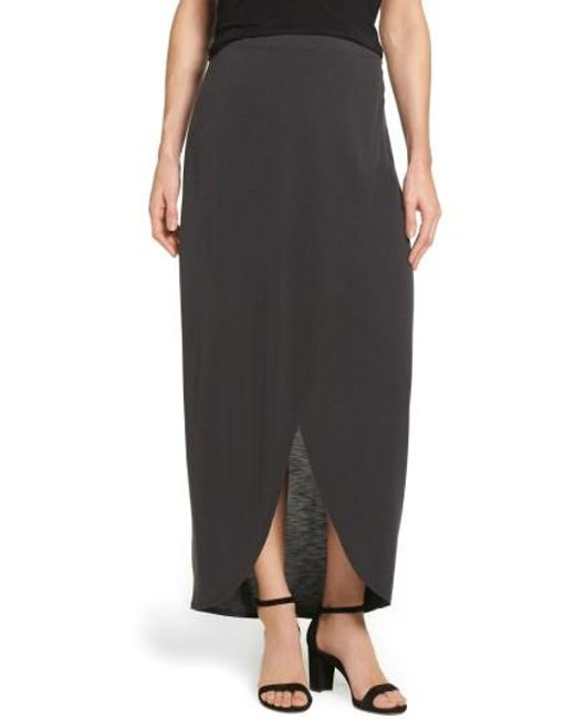 NIC+ZOE | Black Boardwalk Knit Wrap Maxi Skirt | Lyst