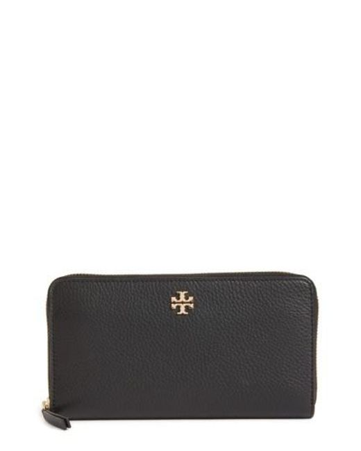 Tory Burch | Black Frida Zip Around Leather Wallet | Lyst