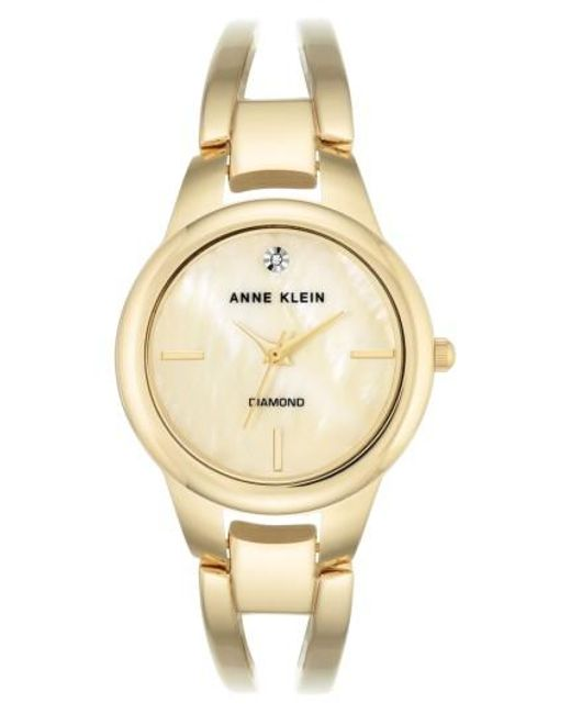 Anne Klein | Metallic Diamond Oval Bangle Watch | Lyst