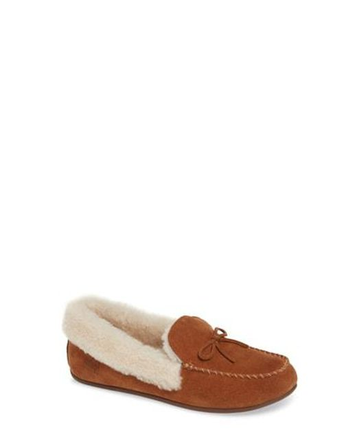 a62124e342b7 Lyst - Fitflop Clara Moccasin Slippers in Brown