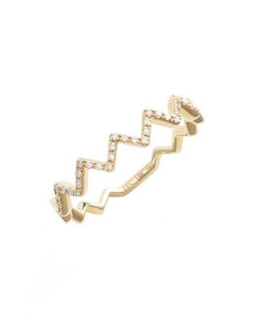 EF Collection | Metallic Zigzag Diamond Stack Ring | Lyst
