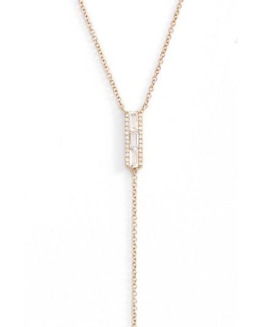 EF Collection | Metallic Diamond & Topaz Baguette Bar Y-necklace | Lyst