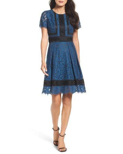 Eliza J | Blue Lace Fit & Flare Dress | Lyst