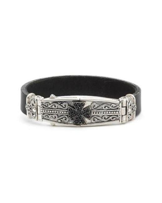 Konstantino | Metallic Plato Maltese Cross Leather Bracelet for Men | Lyst