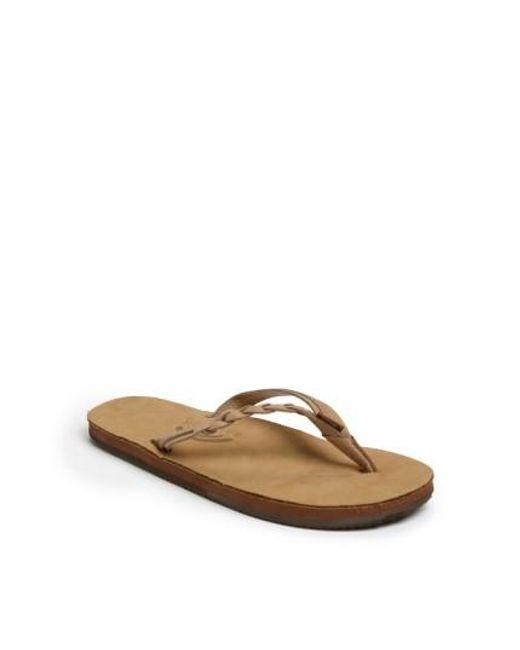 Rainbow Sandals   Brown 'flirty' Braided Leather Flip Flop   Lyst