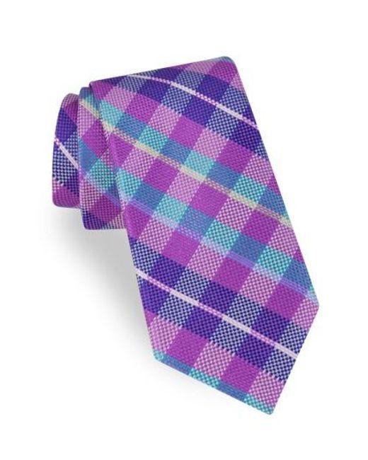 Ted Baker | Purple Plaid Silk Tie for Men | Lyst
