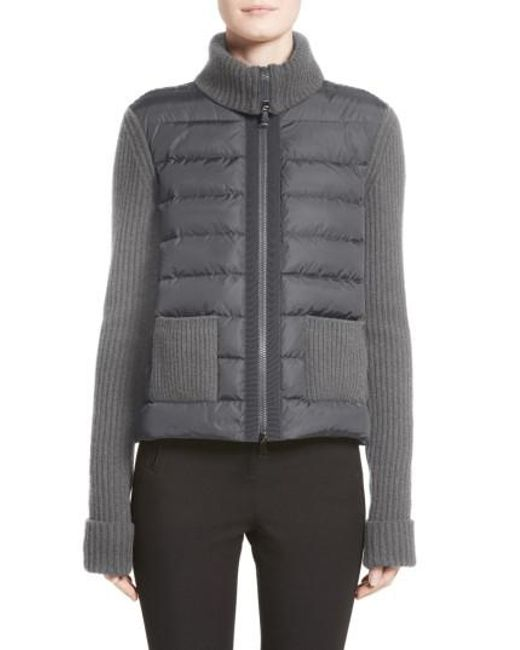 Moncler   Gray Ciclista Quilted Down Front Sweater Jacket   Lyst