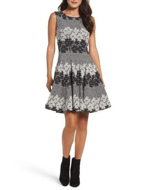 Eliza J   Gray Jacquard Fit & Flare Dress   Lyst