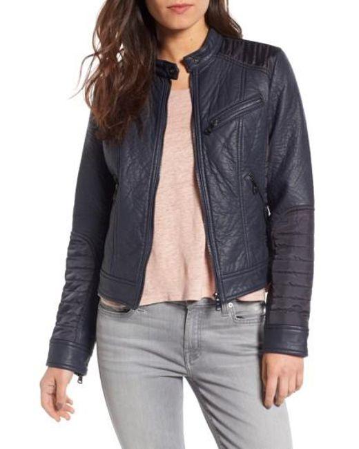 Bernardo | Blue Mixed Media Faux Leather Jacket | Lyst