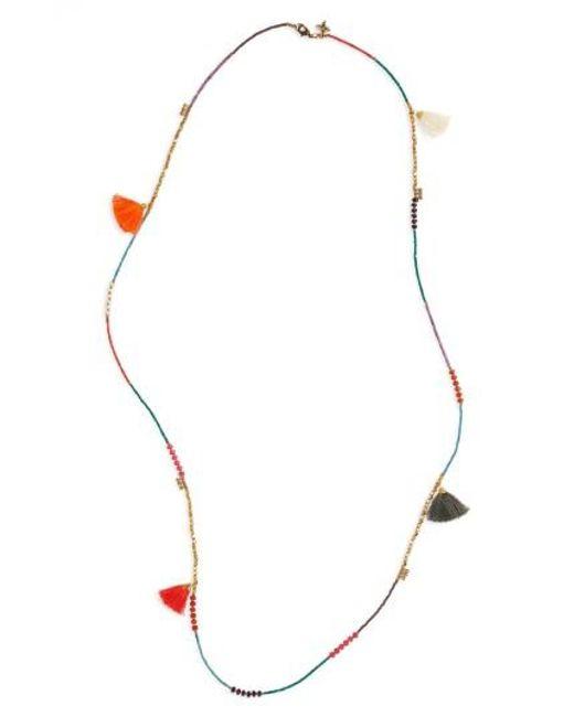 Panacea | Metallic Tassel Beaded Necklace | Lyst