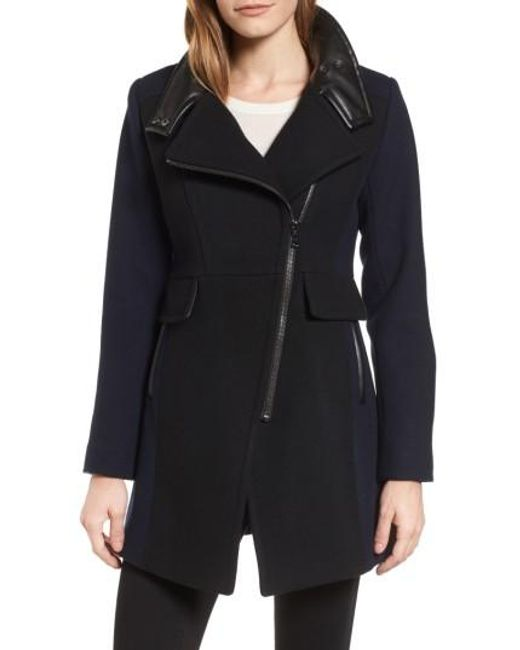 Trina Turk | Black Eleanor Leather Trim Wool Blend Coat | Lyst