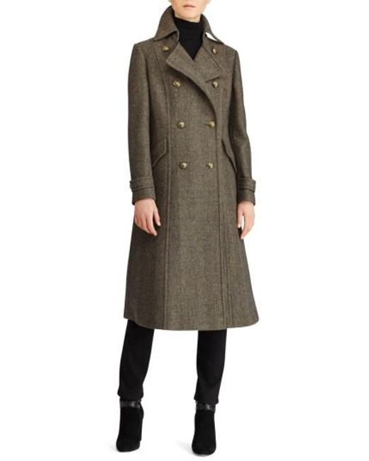 Lauren by Ralph Lauren | Multicolor Herringbone Wool Blend Long Military Coat | Lyst