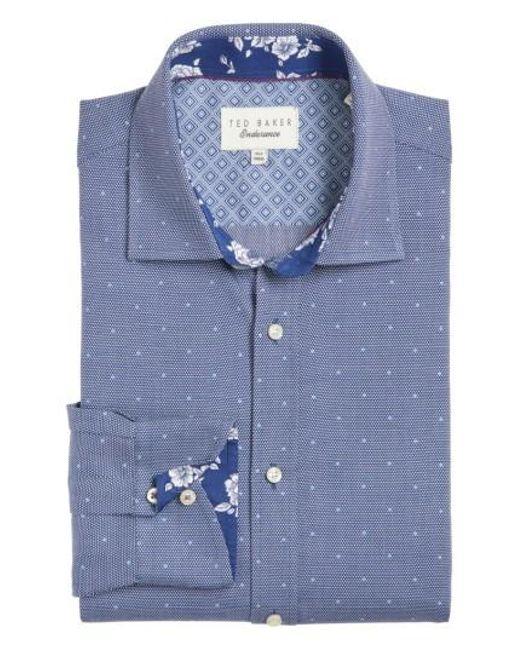 Ted Baker   Blue Trim Fit Dot Dress Shirt for Men   Lyst