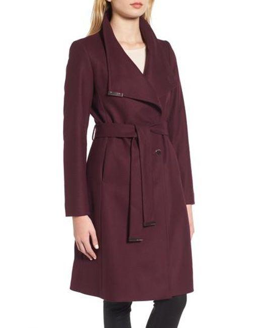 Ted Baker | Purple Wool Blend Long Wrap Coat | Lyst