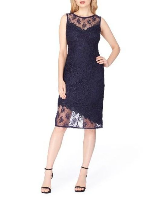 Tahari | Blue Lace Sheath Dress | Lyst